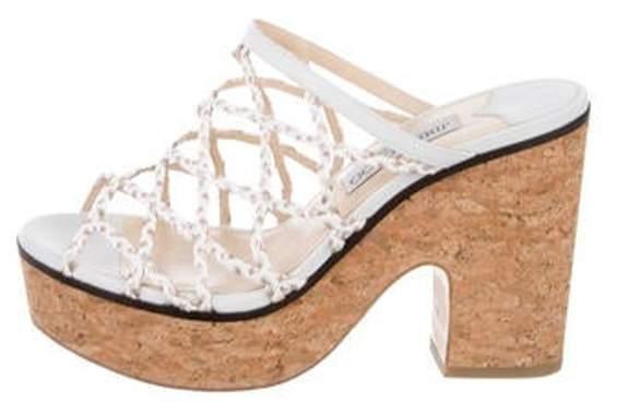 Jimmy Choo Leather Platform Slide Sandals White Leather Platform Slide Sandals