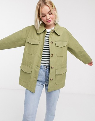 Monki waisted utility jacket in green