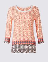 Classic Printed Trim Neck 3/4 Sleeve T-shirt