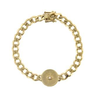 Sydney Evan Evil Eye Coin On Chain Bracelet - Yellow Gold
