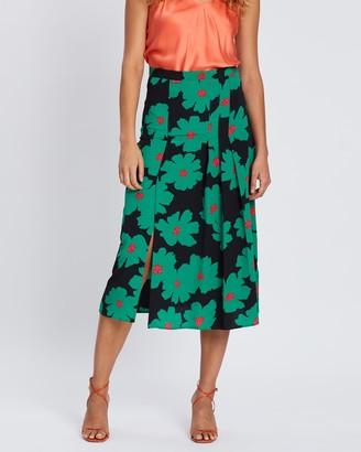 Topshop Bold Floral Box Pleat Skirt