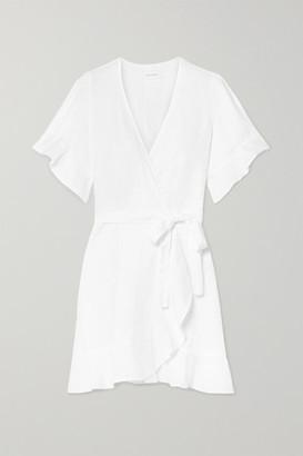 HONORINE Edie Linen Mini Wrap Dress - White