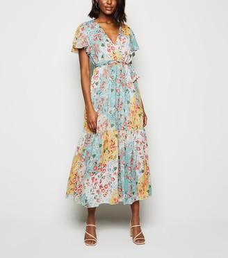 New Look Blue Vanilla Floral Midi Wrap Dress