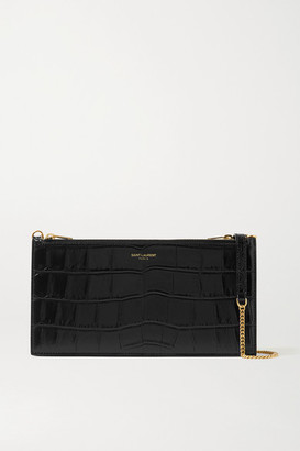 Saint Laurent Croc-effect Leather Shoulder Bag