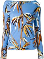 Emilio Pucci leaves print boatneck T-shirt - women - Silk/Viscose - 44