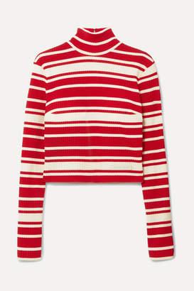 Prada Striped Ribbed-knit Turtleneck Sweater - Red