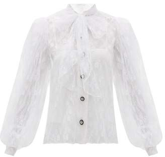 Christopher Kane Pussy Bow Floral Chantilly Lace Blouse - Womens - White