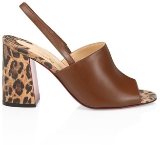 Christian Louboutin Leopard-Print & Leather Slingback Sandals
