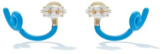 BEA BONGIASCA Tendril Crystal, 9kt Gold & Enamel Earrings - Blue Multi