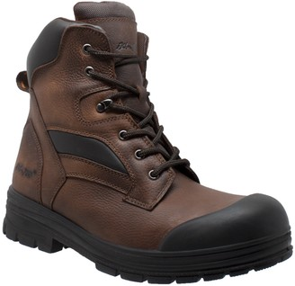 AdTec Ad Tec Mens 8 Inches Waterproof Composite Toe Certified Work Boot Grain Leather Brown - Slip Resistant Rubber Outsole with Rubber Toe Cap