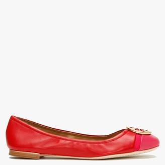 Tory Burch Minnie Cap Toe Brilliant Red & Bright Azalea Leather Ballet Pumps