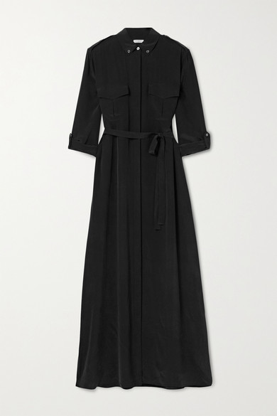 Equipment Major Washed-silk Maxi Shirt Dress - Black