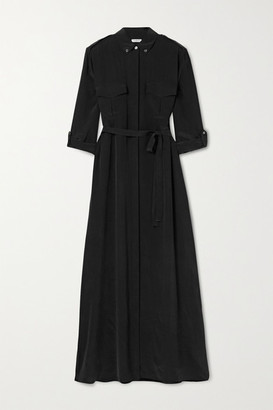 Equipment Major Washed-silk Maxi Shirt Dress - Black