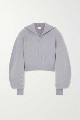 Magda Butrym Cropped Ribbed Cashmere Sweater - Gray