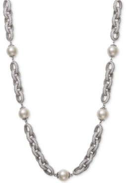 """Belle de Mer Cultured Freshwater Pearl (9-1/2mm) & Cubic Zirconia 18"""" Statement Necklace in Sterling Silver"""