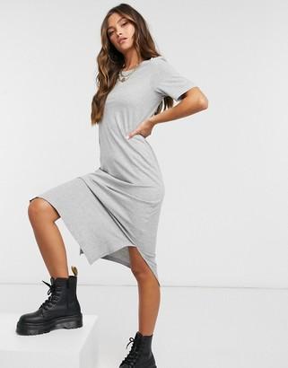 Brave Soul midi t-shirt dress in grey