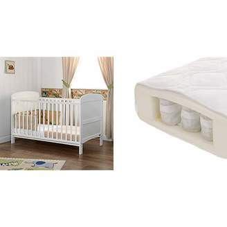O Baby Obaby Grace Cot Bed and All Seasons Pocket Sprung Mattress - White
