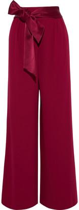 Alice + Olivia Merna Satin-trimmed Crepe Wide-leg Pants