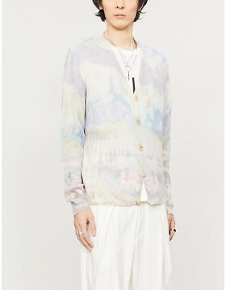 Amiri Tie-dye V-neck cashmere cardigan