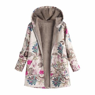 Homebaby Women Coat HOMEBABY Womens Winter Warm Cotton Coat Hooded Parka Classic Floral Print Jacket Casual Ladies Thick Long Sleeve Faux Fur Fluffy Fleece Warm-up Cardigan Outwear Hot Pink
