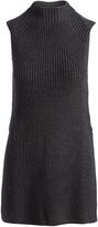 Three Dots Charcoal Joan Merino Wool-Blend Sleeveless Sweater