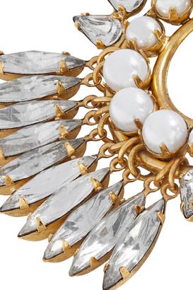 Elizabeth Cole Simcha 24-karat Gold-plated, Faux Pearl And Swarovski Crystal Earrings