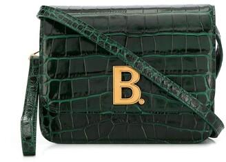 Balenciaga Logo Plaque Crocodile Effect Crossbody Bag