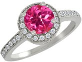 Gem Stone King 1.30 Ct Round Pink Mystic Topaz White Diamond 18K White Gold Ring