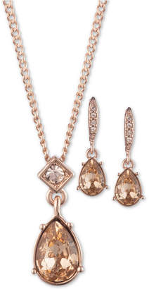 """Givenchy Crystal Pendant Necklace & Drop Earrings Set, 16"""" + 3"""" extender"""