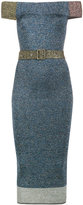 Christopher Kane lurex off-shoulder dress - women - Polyamide/Polyester/Viscose/Metallized Polyester - M