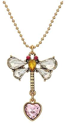 Betsey Johnson Stone Dragonfly Pendant Necklace Heart Stud Earrings Set