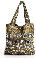 Moyna Yellow Beaded Mirror Sequin Detail Double Handle Small Clutch Handbag