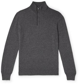 Ermenegildo Zegna Suede-Trimmed Melange Cashmere Half-Zip Sweater
