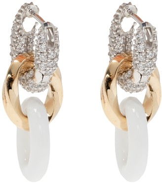 Bottega Veneta Crystal And Enamel Hoop Drop Earrings