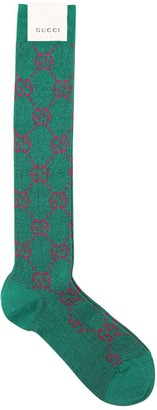 Gucci Long Gg Jacquard Cotton Blend Socks