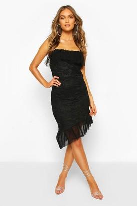 boohoo Strappy Lace Mesh Frill Hem Mini Dress
