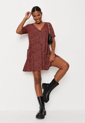 Missguided Floral Button Down Smock Dress
