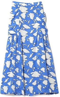 Raquel Allegra Bold Floral Silk Dreamer Skirt in French Blue