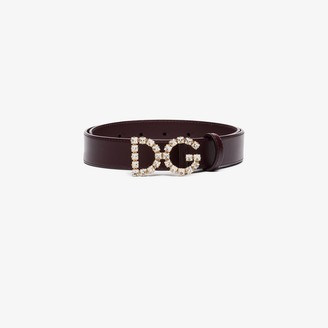 Dolce & Gabbana purple crystal logo leather belt