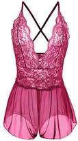 Avidlove Women Sexy Lingerie Lace See-through Babydoll Open Crotch Pant Dress M=US S