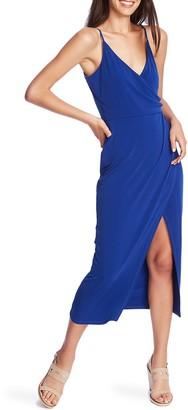 1 STATE Faux Wrap Midi Dress