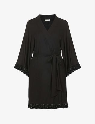 Eberjey Colette lace-trim jersey robe