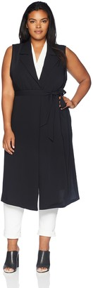 Nine West Women's Size Plus Sleeveless Crepe Duster with TIE Detail