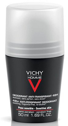 Vichy Homme Men's Deodorant for Sensitive Skin Roll-On 50ml