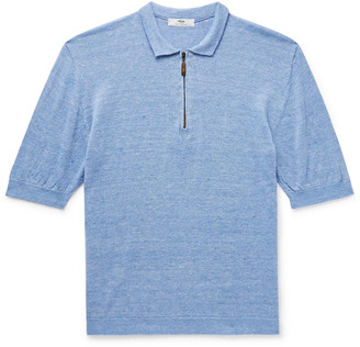 Inis Meáin Melange Linen And Cotton-Blend Half-Zip Polo Shirt