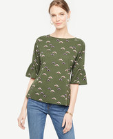 Ann Taylor Petite Floral Curved Sleeve Top