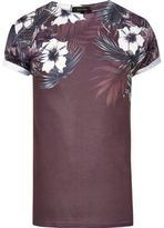 River Island MensBurgundy floral shoulder print T-shirt