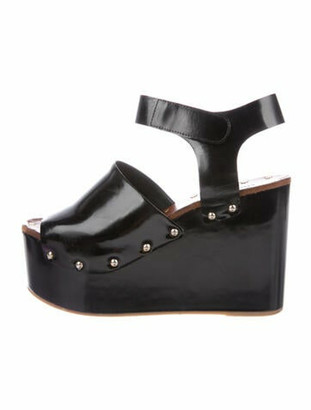 Celine Patent Leather Studded Accents Sandals Black