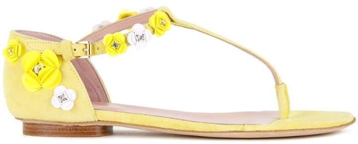 Moschino floral applique flat sandals