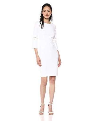 Calvin Klein Women's Solid Sheath with Detailed Split Sleeve Dress